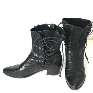 Black All Leather Bohemian Lace Up Ankle Boots